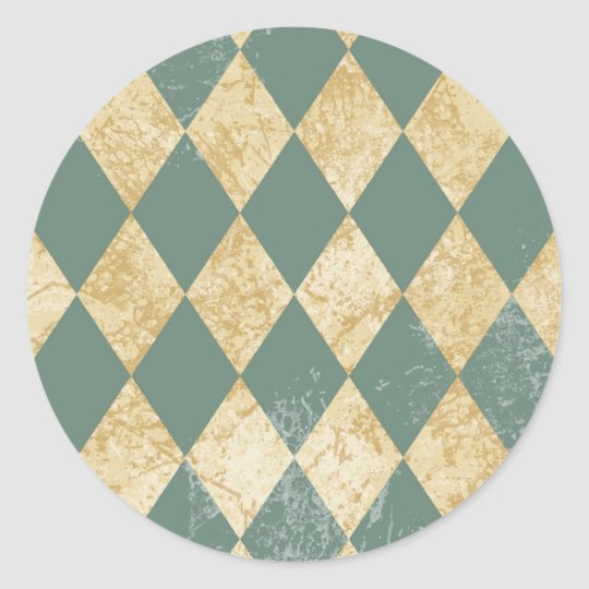 Faded Diamond Pattern Classic Round Sticker
