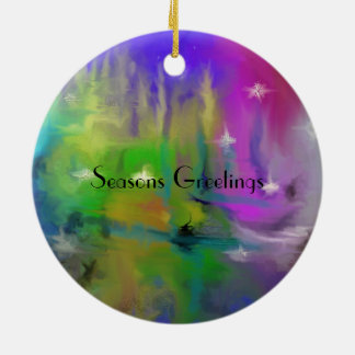 Faded Fireworks Abstract for Holidays Ceramic Ornament