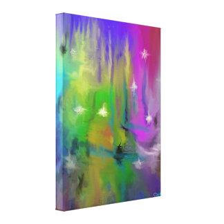 Faded Fireworks Digital Abstract Canvas Print
