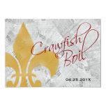 "Faded Fleur de Lis Newspaper Crawfish Boil Invite 5"" X 7"" Invitation Card"