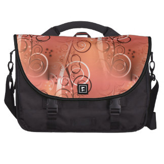Faded Floral Swirl Coral Peach Gifts for Her Bag For Laptop