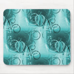Faded Floral Swirl Teal Turquoise Blue Girly Gifts Mousepad