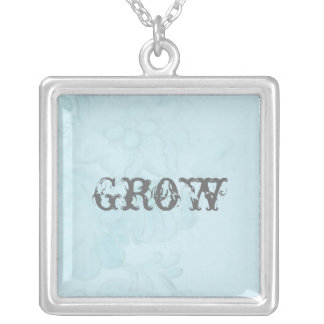 Faded Flower Illustration with Word Art Square Pendant Necklace