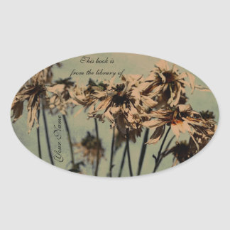 faded flowers library sticker plate