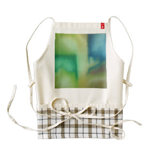 Faded Green & Blue Abstract Oil Painting Zazzle HEART Apron