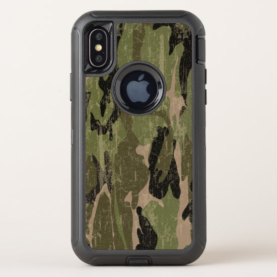 Faded Green Camo OtterBox Defender iPhone X Case