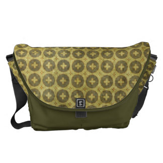 Faded Green Circle Cross Pattern Courier Bag