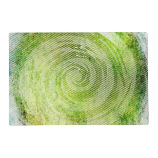 Faded Green Hypnotic Swirl Art Laminated Place Mat