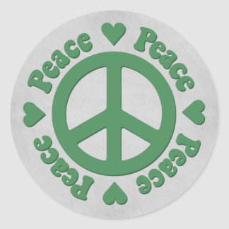 Faded Green Peace Sign with Hearts Sticker