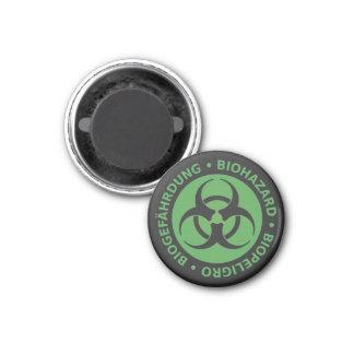 Faded Green Trilingual Biohazard Warning 1 Inch Round Magnet