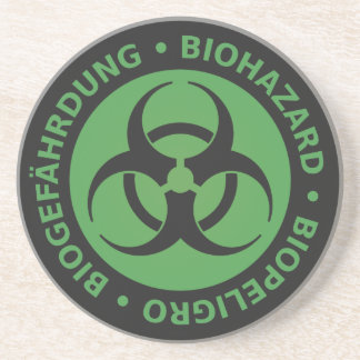 Faded Green Trilingual Biohazard Warning Beverage Coaster