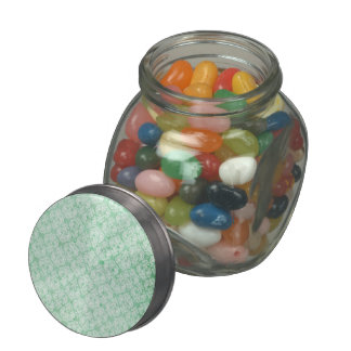 Faded Grunge Damask in Green Glass Candy Jar