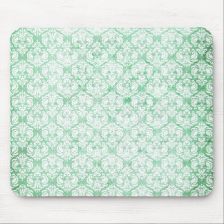 Faded Grunge Damask in Green Mouse Pad