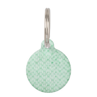 Faded Grunge Damask in Green Pet Tag