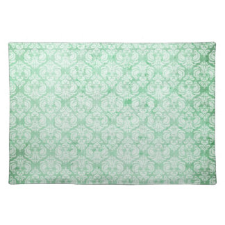 Faded Grunge Damask in Green Placemat