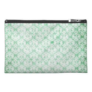 Faded Grunge Damask in Green Travel Accessory Bag