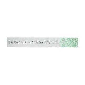 Faded Grunge Damask in Green Wrap Around Address Label