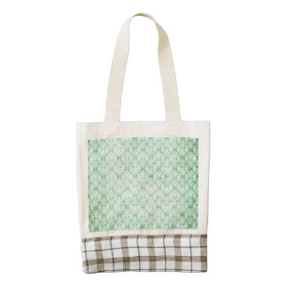 Faded Grunge Damask in Green Zazzle HEART Tote Bag