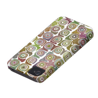 Faded Grunge Retro Swirlies & Circles Pattern Case-Mate iPhone 4 Case