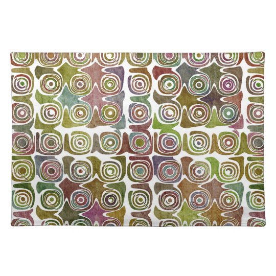 Faded Grunge Retro Swirlies & Circles Pattern Cloth Placemat