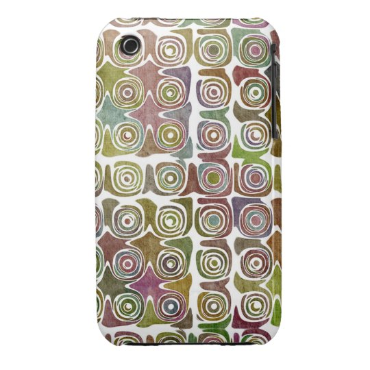 Faded Grunge Retro Swirlies & Circles Pattern iPhone 3 Case-Mate Case