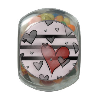 Faded Hearts Jelly Belly Glass Jar