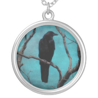 Faded Into The Aqua Blue Sky Round Pendant Necklace