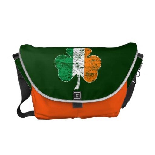 Faded Irish Flag Shamrock Messenger Bag