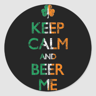 Faded Keep Calm And Beer Me St Patrick's Day Classic Round Sticker
