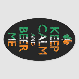 Faded Keep Calm And Beer Me St Patrick's Day Oval Sticker