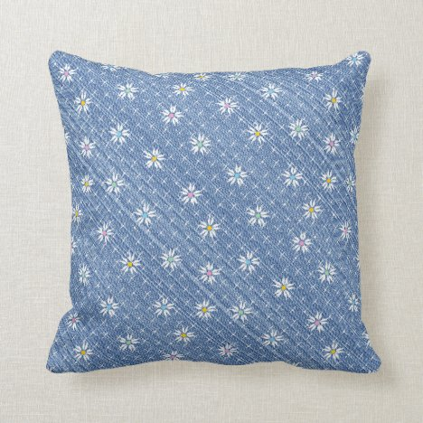 Faded light blue denim pretty floral throw pillow