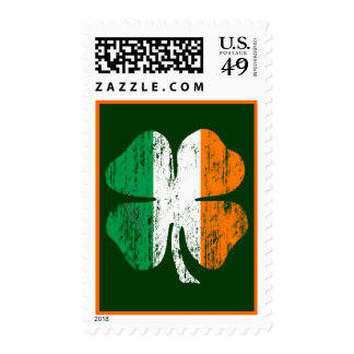 Faded 'Luck of The Irish' Shamrock Postage Stamp