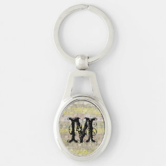 Faded Measuring Tape Background Silver-Colored Oval Metal Keychain