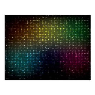 Faded Neon Star Pattern Postcard