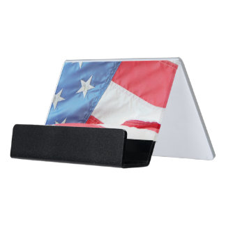 Faded Old Glory Desk Business Card Holder