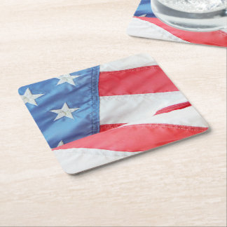 Faded Old Glory Square Paper Coaster