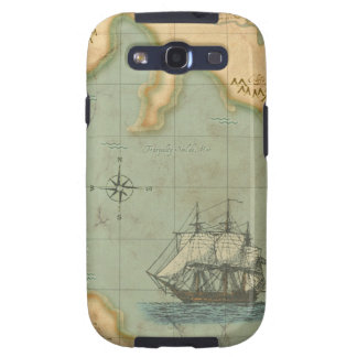 Faded Parchment Map Ship Samsung Galaxy S3 Covers