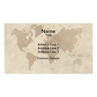 Faded Parchment World Map Business Card