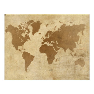 """Faded Parchment World Map 8.5"""" X 11"""" Flyer"""