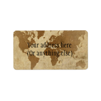 Faded Parchment World Map Label