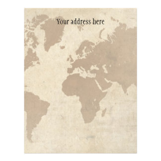 Faded Parchment World Map Letterhead