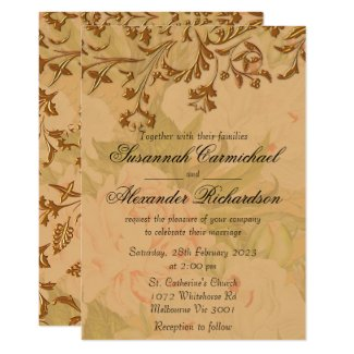 Faded Peonies and Harvest Gold Wedding Invitation