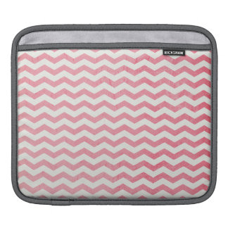 Faded Pink and White Chevron Stripes Sleeve For iPads