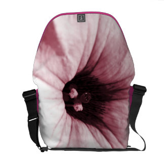 Faded pink flower macro picture messenger bags