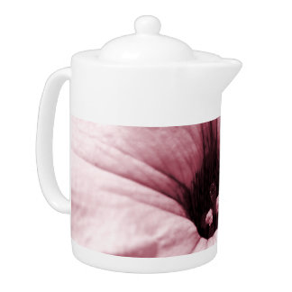 Faded pink flower macro picture teapot