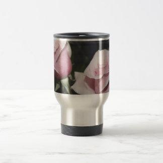 Faded pink rose image sketchy overlay 15 oz stainless steel travel mug