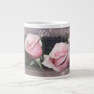 Faded pink rose image sketchy overlay 20 oz large ceramic coffee mug