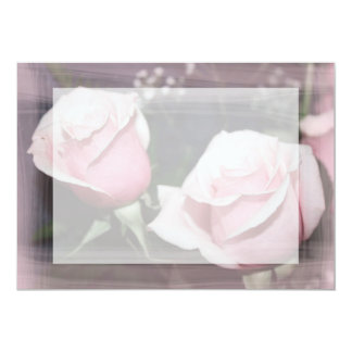 Faded pink rose image sketchy overlay 5x7 paper invitation card