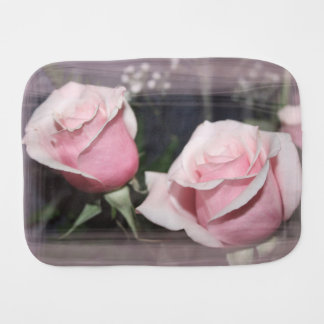 Faded pink rose image sketchy overlay baby burp cloths