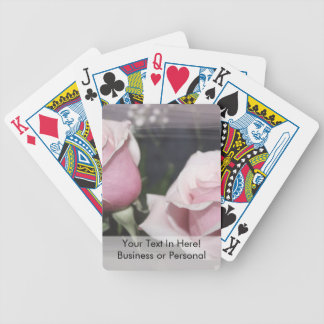 Faded pink rose image sketchy overlay bicycle playing cards
